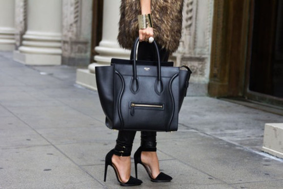 black leather bag handbag