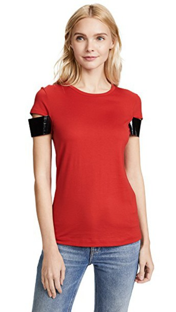 Helmut Lang short shiny red top
