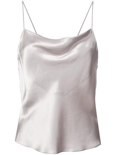 Fleur Du Mal - cowl neck cami top - women - Silk - L, Grey, Silk