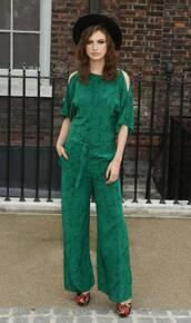 jumpsuit,romper,emerald green,handpicklook.com