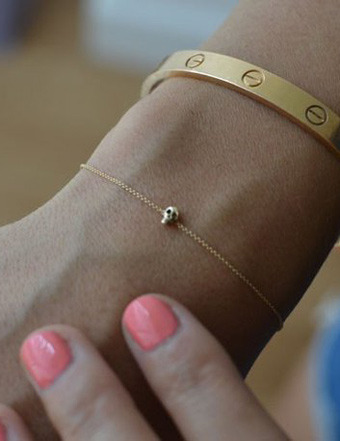 Gold Skull Bracelet with Gold Chain by Iwona Ludyga