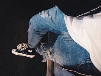 jeans cropped jeans boyfriend jeans fall outfits clothes denim fashion converse ripped jeans denim jacket menswear