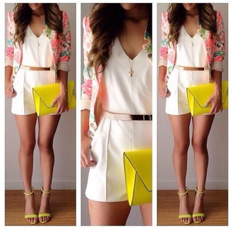 romper shorts white top style shirt blouse clutch yellow heels heels on gasoline cardigan floral bag jumpsuit shoes flowers heels belt gold