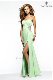 dress,prom dress,long prom dress,mint,mint dress,beaded,sweetheart dress,faviana,green dress
