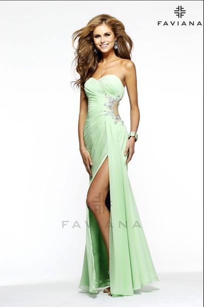 dress prom dress long prom dress mint mint dress beaded sweetheart dress faviana green dress