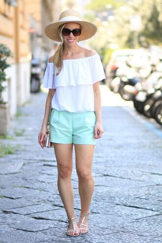 shoes cold shoulder top sandals gold sandals flat sandals gold flat sandals shorts blue shorts summer shorts top flare top off the shoulder off the shoulder top white top sunglasses hat sun hat bag metallic clutch