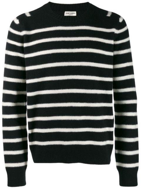 Saint Laurent Crew Neck Striped Sweater - Farfetch