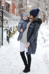 see jane,blogger,pom pom beanie,down jacket,baby clothing,winter coat,mother and child,puffer jacket,hooded winter coat