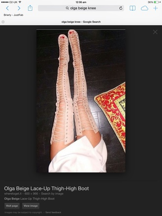 shoes beige lace up boots lace up kim kardashian snakeskin thigh high boots sexy pointed cream leather hot
