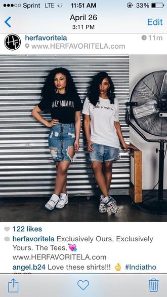 skirt india love ripped jeans casual t-shirt light blue jeans denim skirt ripped black girls killin it urban dope shoes