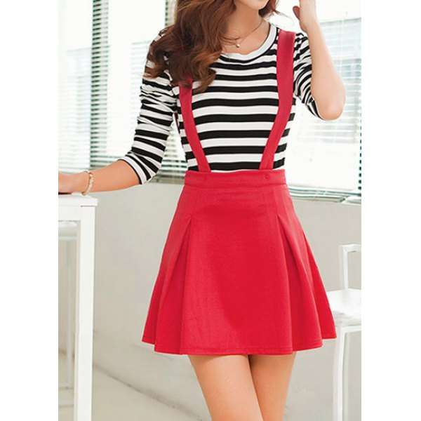 Stylish Scoop Neck Long Sleeve Striped T-Shirt   Solid Color Suspender Skirt Women's Twinset