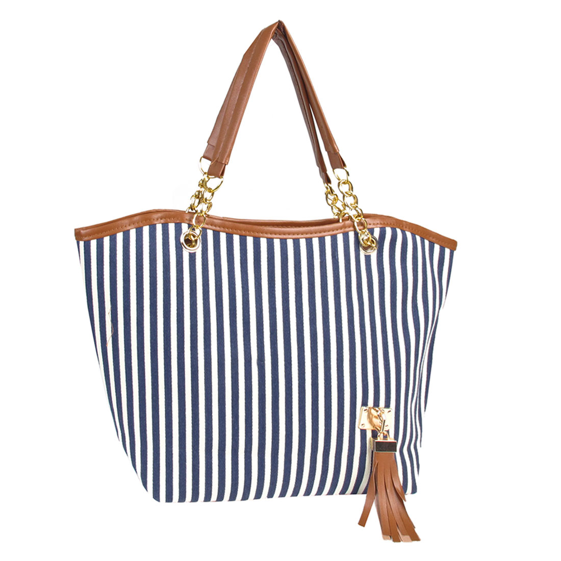 Blue White Stripes Pattern Zipper Closure Handbag Shoulder Bag for Women