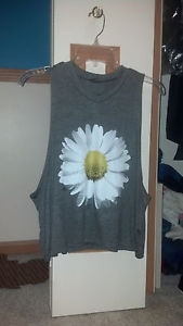 BNWOT Size Small Urban Outfitters Forever 21 Daisy Grey Drop Armhole Tank Top | eBay