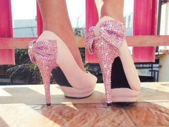 shoes high heels bows pink sparkly