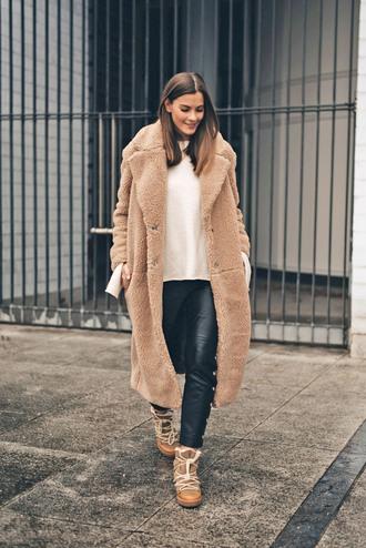 coat tumblr fuzzy coat camel camel coat camel long coat teddy bear coat pants black pants leather pants black leather pants boots winter boots
