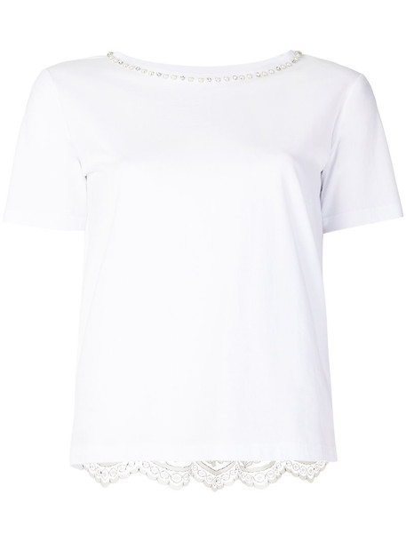 Twin-Set t-shirt shirt t-shirt embroidered women lace white cotton top