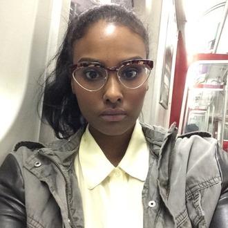 cat eye sunglasses jacket babe black girl beauty lips cheetah print yellow top gorgeous selfie
