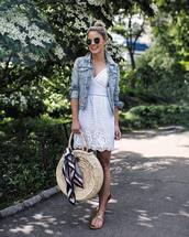 dress,tumblr,mini dress,white dress,white lace dress,lace dress,jacket,denim jacket,denim,bag,round bag,round tote,scarf,flats,shoes