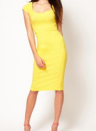 Yellow Sexy Dress - Sexy Square Neck Cap Sleeve | UsTrendy