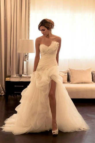 dress prom dress high low prom dress high slit dress strapless wedding dress bridal gown long prom dress tulle prom dress