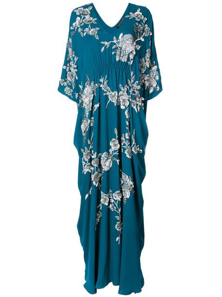 Natori dress women blue silk