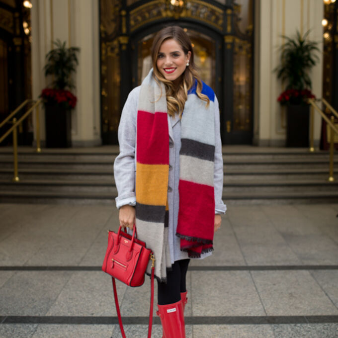 scarf winter outfits blogger red bag gal meets glam colorblock scarf red