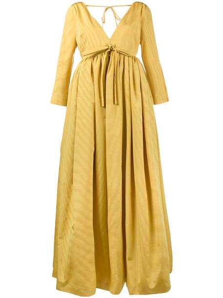 Rosie Assoulin dress women silk wool yellow orange