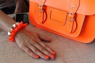 bag satchel bag orange orange bag
