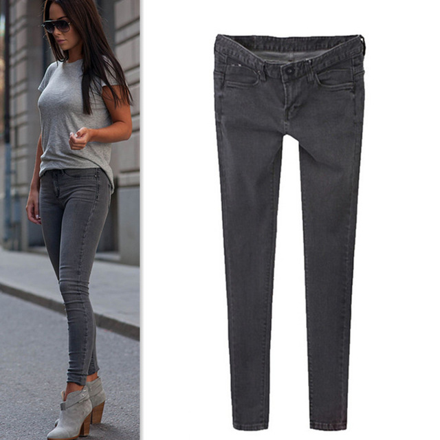 com : Buy 2015 Women Stretch Jeans Slim Skinny Denim Grey Gradient ...