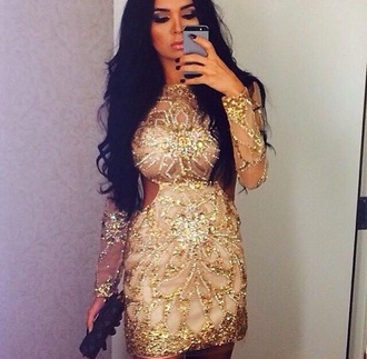 dress glitter dress golden dress
