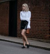 shirt,black skirt,tumblr,white shirt,bell sleeves,skirt,mini skirt,leather skirt,mules,simon miller bag,bag,mini bag,shoes