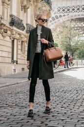 coat,tumblr,khaki,green coat,top,stripes,striped turtleneck,turtleneck,sunglasses,bag,brown bag,shoes,loafers,fashionjackson,blogger,jeans,jewels
