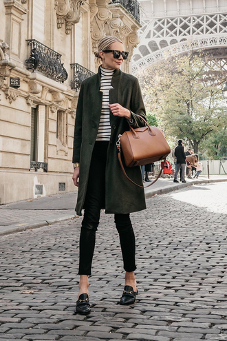 coat tumblr khaki green coat top stripes striped turtleneck turtleneck sunglasses bag brown bag shoes loafers fashionjackson blogger jeans jewels
