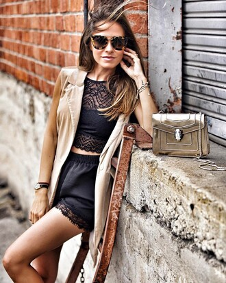 top tumblr black crop top crop tops black top lace top shorts black shorts vest nude vest sunglasses tortoise shell sunglasses tortoise shell bag metallic metallic bag