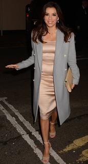coat,dress,eva longoria,sandals