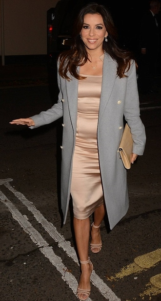 coat dress eva longoria sandals