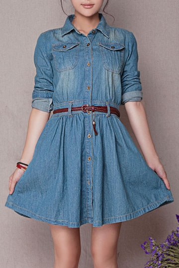 Vintage Long Sleeve Dress with Pockets [FXBI00326]- US$ 46.99 - PersunMall.com