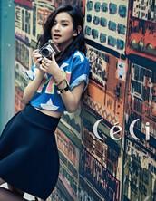 top,crop tops,cute,blue,white stars,t-shirt,shirt,skirt