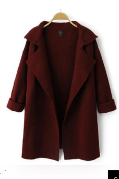 cardigan red winter outfits fall outfits whine red winter sweater coat brown fall outfits fall coat burgundy wine red cotton casual winter coat wool coat