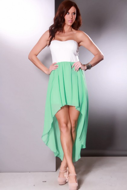 Mint Strapless Cutout Back Sheer Chiffon High Low Hem ...