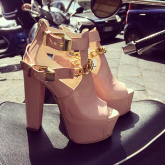 shoes gold chain high heels beige heels ankle boots cut out ankle boots nude boots