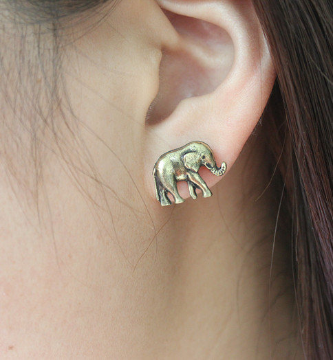 V317 Fashion Arrival Retro Vintage Bronze Cute Elephants Stud Earrings | eBay