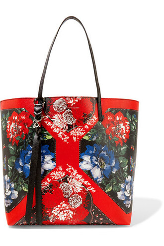 floral leather print red bag