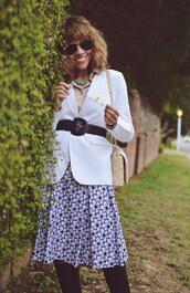 mysmallwardrobe,blogger,skirt,jacket,blouse,shoes,bag,sunglasses,jewels,belt,blazer,spring outfits,midi skirt