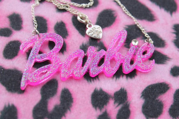 jewels barbie logo plastic necklace