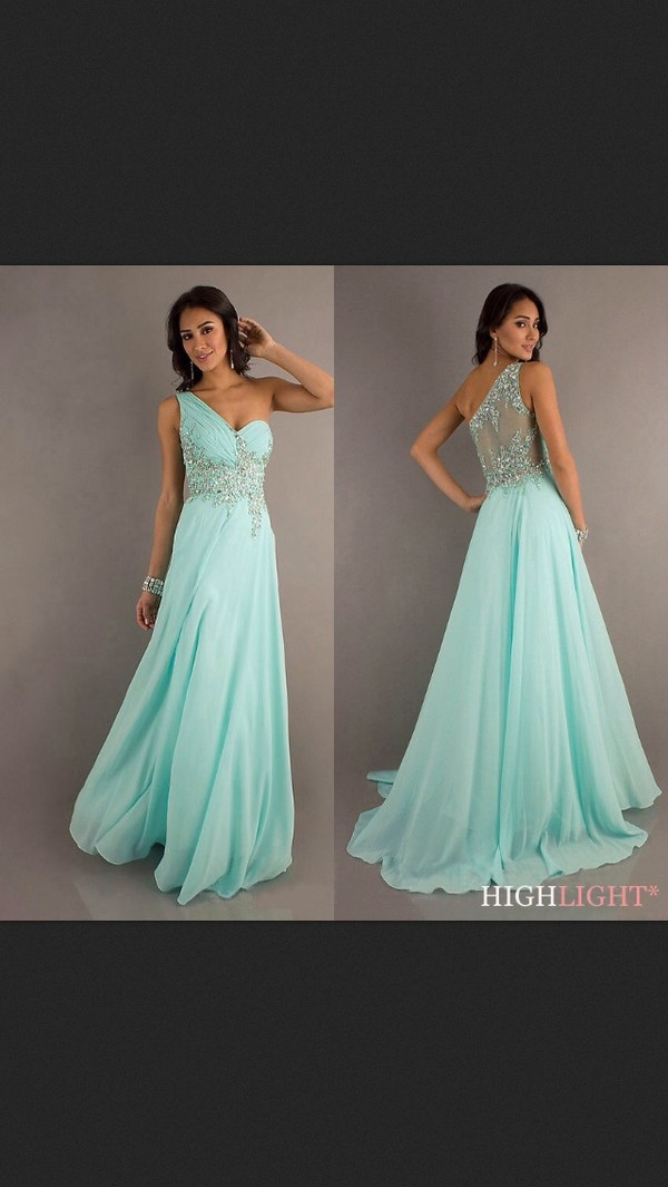 dress turquoise prom homecoming long dress sequins one shoulder dress aqua baby blue