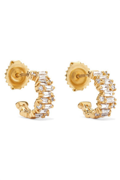 Suzanne Kalan - 12mm 18-karat Gold Diamond Hoop Earrings