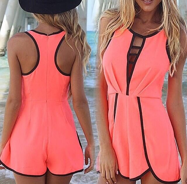 Coral romper · summah breeeze · online store powered by storenvy