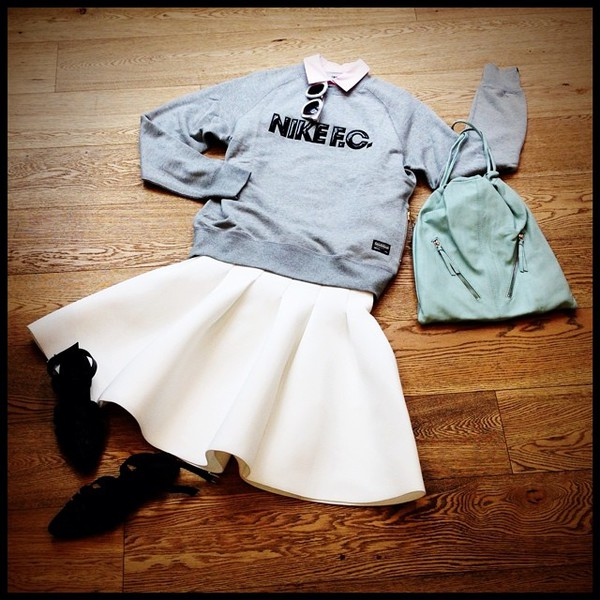 sweater grey blouse sunglasses skirt shoes bag