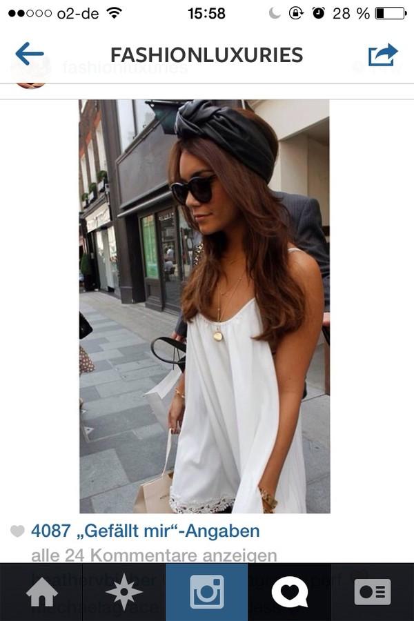 dress summer vanessa hudgens summer dress cute dress white dress white summer outfits hat jewels